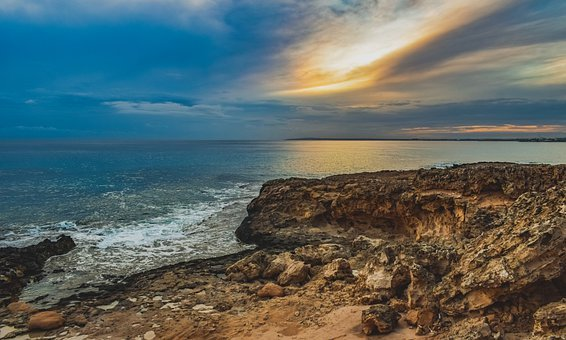 Rocky Coast, Sea, Horizon, Nature, Landscape, Rock
