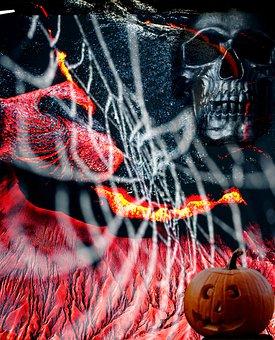 Horror, Photoshop, Fear, Pumpkin, Skull, Spider Web