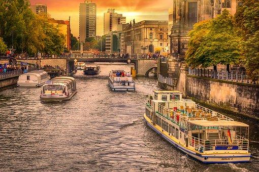 Berlin, Spree, Landscape, Evening, Sunset, Warm, Mood