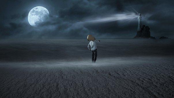 Fantasy, Moon, Night, Beach, Lighthouse
