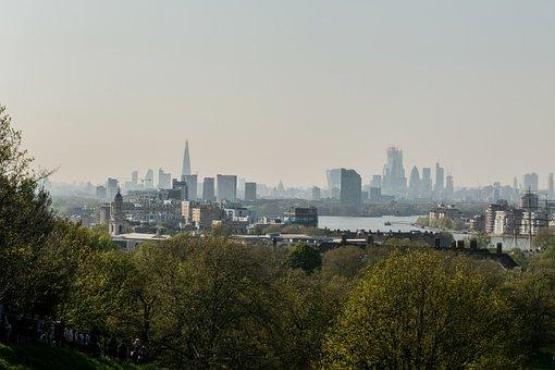 Skyline, London, Skyscrapers, Greenwich