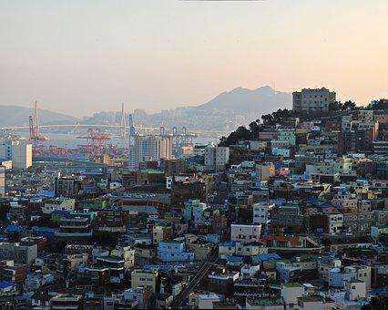 Busan, Mountain, Town, Home, Wharf, Bridge, Panorama
