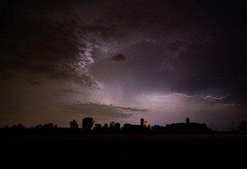 Sky, Lightning Bolt In Sky, Night Oragé