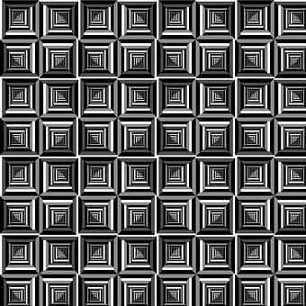 Pattern, Op Art, Black, White, Grey, Squares, Modern