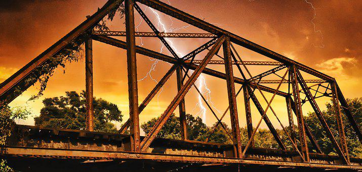 Bridge, Railroad, Lightning, Storms, Storm, Clouds