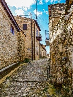 Street, Cobblestone, Stone, Village, Lofou, Cyprus