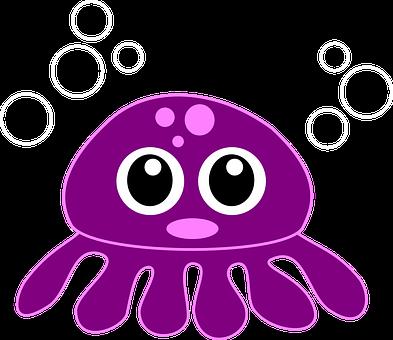 Octopus, Kraken, Purple, Cute, Cartoon, Sea, Animal