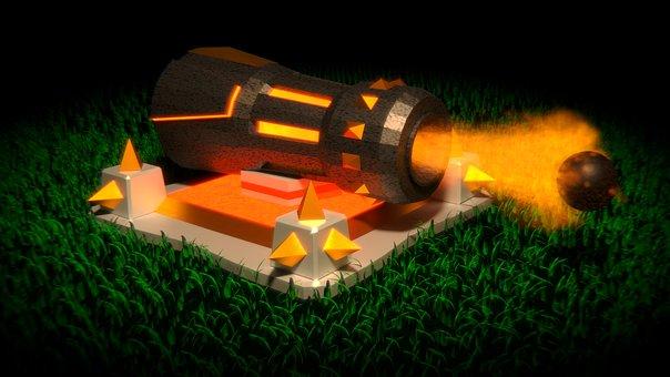 Gun, Clash Of Clans, Mobile Game, Coc, Fantasy, Fire