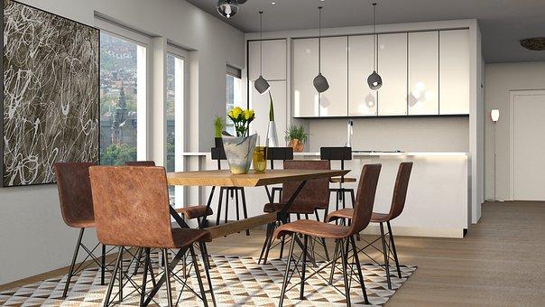 Kitchen, Table, Chair, Carpet, Food, Wood, Floor
