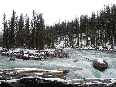 Sunwapta, Falls, Alberta, Travel, Landscape, Rockies