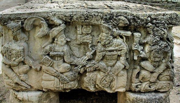 Honduras, Copan, Altar, Sculptures, Maya