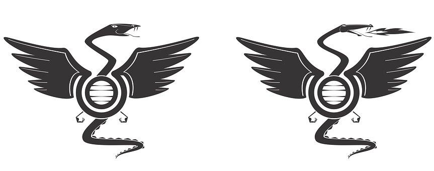 Symbol, Wing, Mythological, Isolated, Fly, Icon, Snake