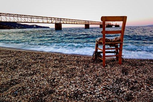 Chair, Sea, Sand, Beach, Water, Sky