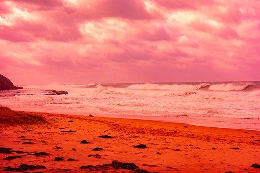 Wollongong Australia, Coastline, Surf, Clouds, Sky