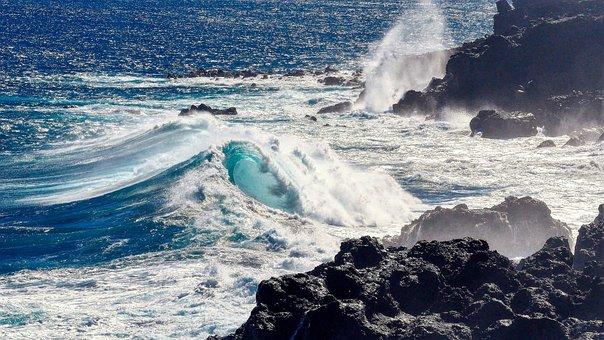 Mer, Waves, Vague, Nature, Reunion Island, Blue Island