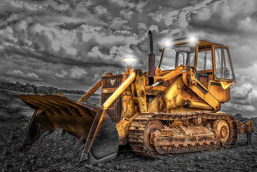 Gear, Night, Bulldozer, Earth, Work, Night Work