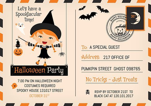 Halloween, Cute, Party, Postcard, Template, Paper, Post