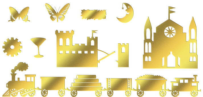 Gold Foil Shapes, Train, Castle, Butterfly, Martini