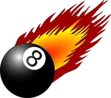 Ball, 8, Eight, Flame, Fire, Pool, Billiards, Play