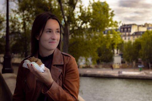 Girl, Beautiful Girl, Eating, Face, Model, Crepe, Paris