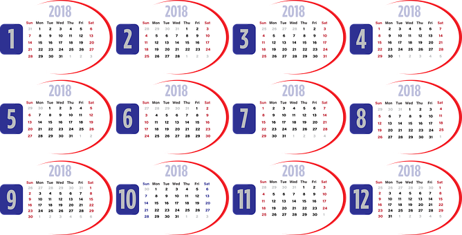 Calendar, Business, 2018, Usa, Red, White, Blue, Week
