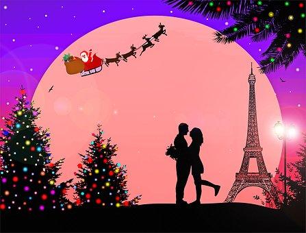 Paris France Christmas, Eiffel Tower, Christmas