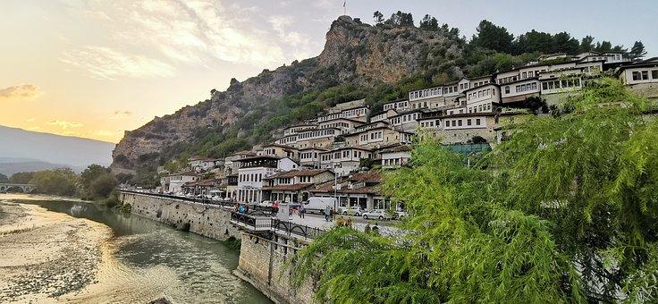 Albania, Berat, City, House, Facade, Cliff, Balkans