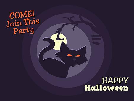 Halloween, Poster, Invitation, Cat, Dead, Tree, Night