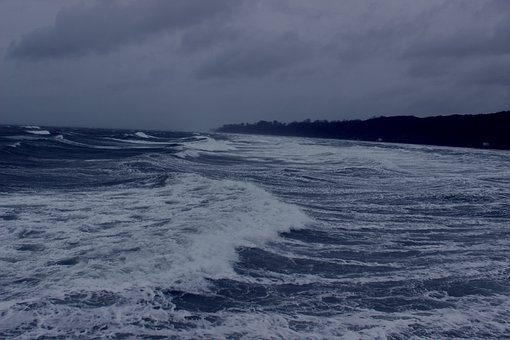 Forward, Sea, Wave, Baltic Sea, Dark, Dramatic, Storm