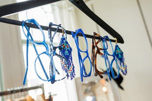 Blue, Glasses, Clothing-rack, Glass, Building