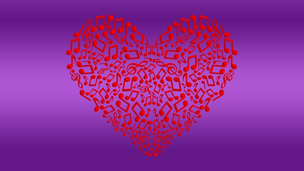 Background, Art, Texture, Heart, Music, Musical Notes