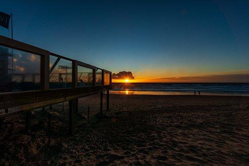 Sea, Holland, Sunset, Mood, Blue Hour