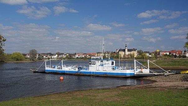 Ferry, Transport, Crossing, Coswig