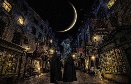 Fantasy, Harry Potter, Diagon Alley, Magic, Lights