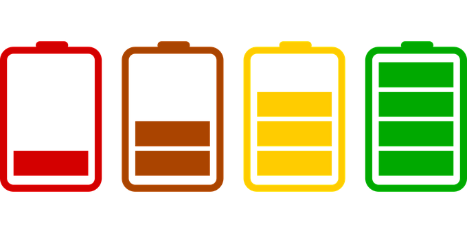 Batteries, Loading, Icons, Set, Flat, Charged, Battery