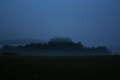 Germany, Fog, Village, Bayern, Fields