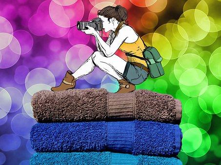 Rainbow, Girl, Blue, Photographer, Wallpaper