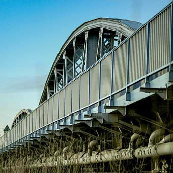 Bridge, Metal, Blue, Building