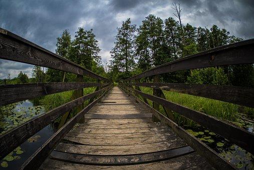 Bridge, Clouds, Sky, Water, Landscape, Mood, Nature