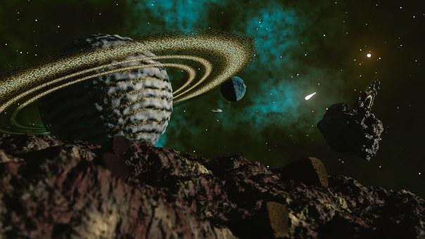 Space, Scene, Spaceship, Spacecraft, Comet, Asteroid