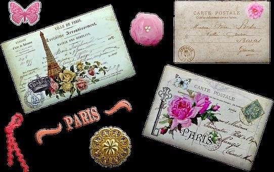 Vintage French Postcard, Eiffel Tower, Beret, Poppy
