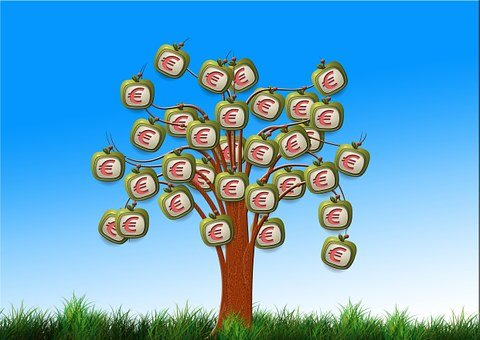 Finance, Euro, Currency, Tree, Apple, Monitor, Money