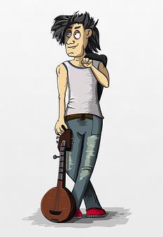 Banjo, Guy, Posture, Bandit, Musician