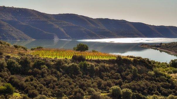 Kouris Dam, Lake, Landscape, Mountains, Nature