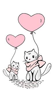 Cat, Balloon, Love, Kitten, Heart, Pink, Sweet