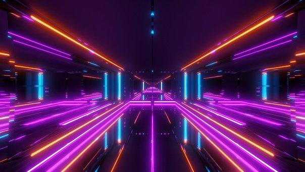 Futuristic, Temple, Tunnel, Scifi, Light Stroke, Light
