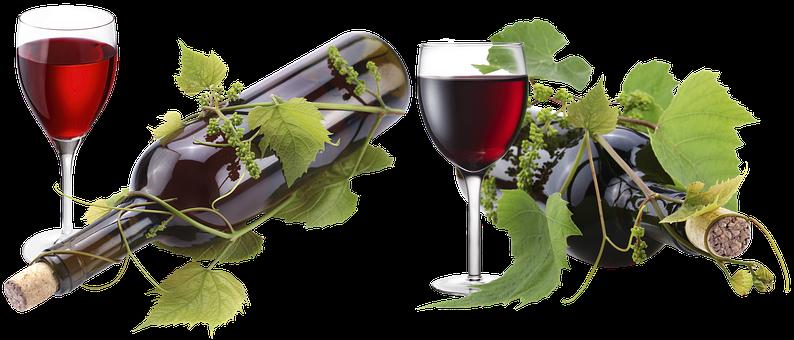 A Glass Of Wine, Bottle, Fougères, Grape Leaf, Loza