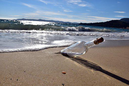 Message In A Bottle, Bottle, Message, Underwater