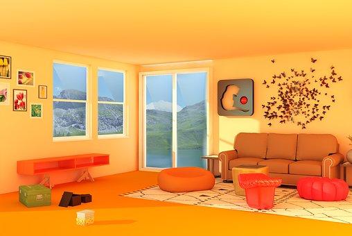 Interior, Window, Carpet, Sofa, Desk, Orange Window