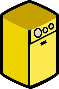 Dryer, Appliance, Yellow, Domestic